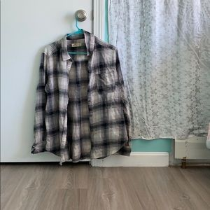 Gray and white plaid button up from Hollister